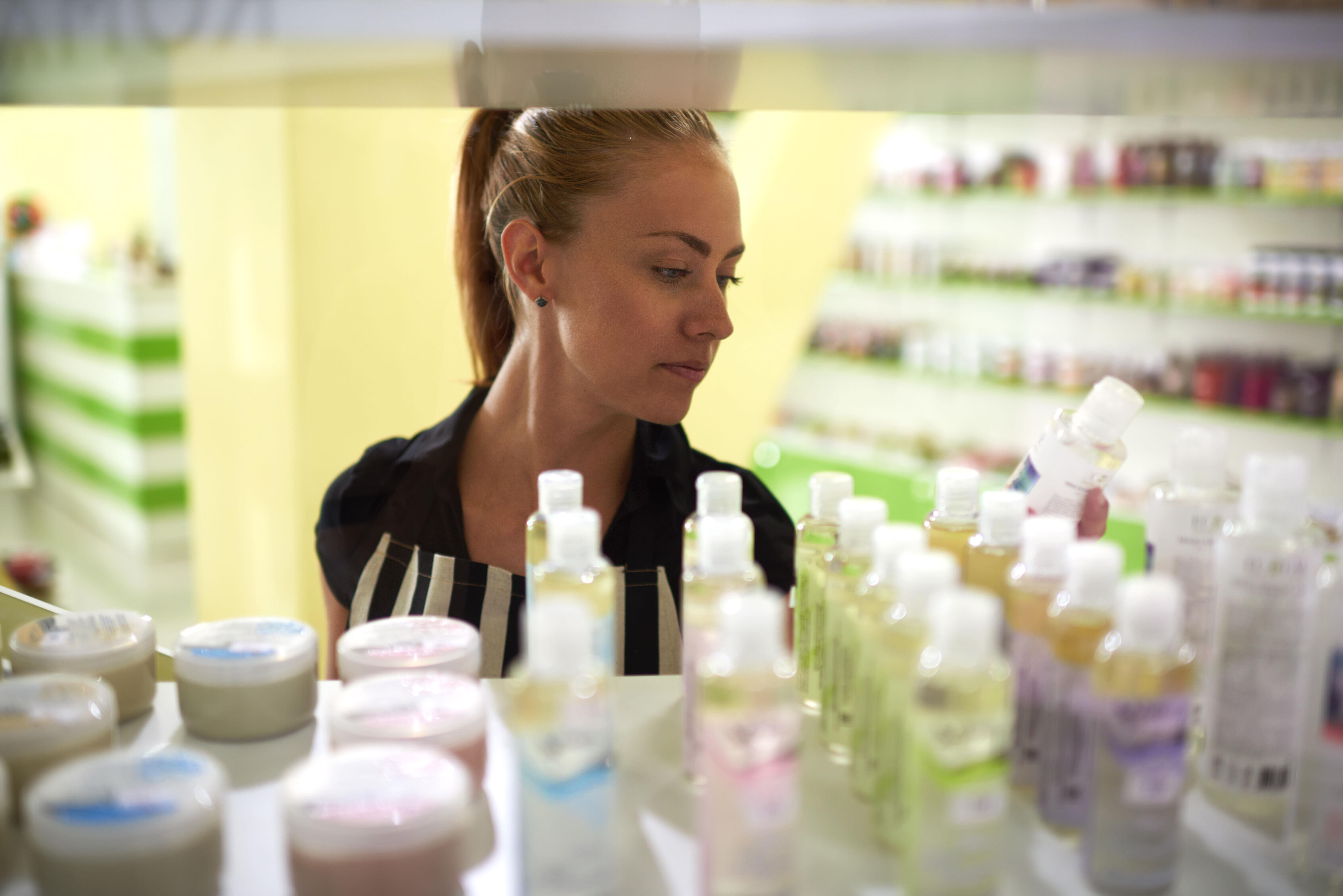 Girl chooses cosmetics
